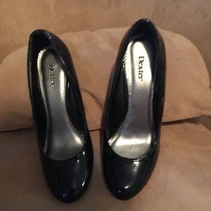 Dexter paten black wedge heels